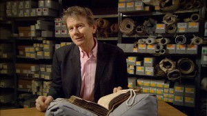 Michael Wood with the Textus Roffensis