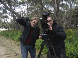 Pretentious or what?Cameraman Fred Fabre and director Jack MacInnes playing filmmaking!