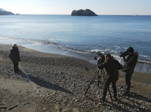 Filming on the beach in Lesbos with Margaret Mountford