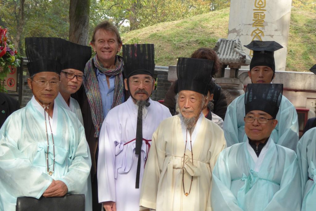 Michael Wood with Korean scholars at the Confucian cemetery in Qufu