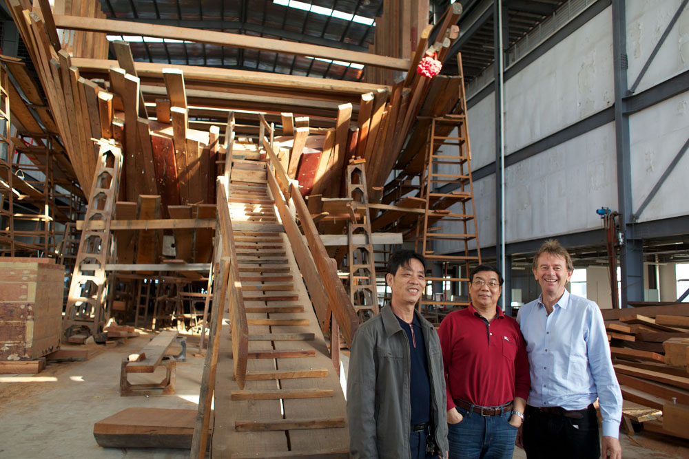 Michael Wood with T.J. Jia who is building a traditional flagship junk like the one Zheng He would have sailed on