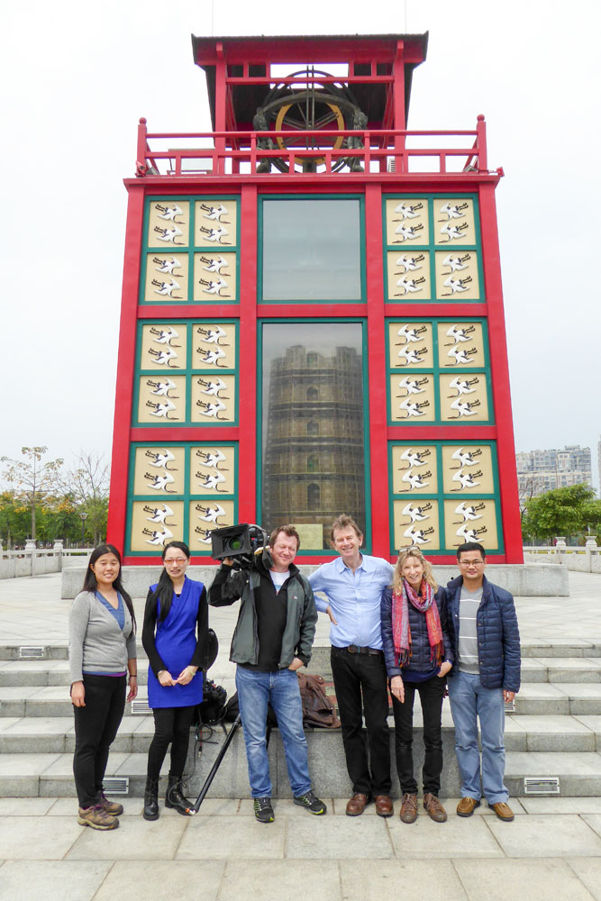 The crew in front of Su Song's astronomical clock tower, Tong'an