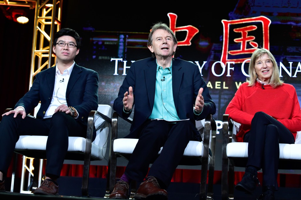 Historian, writer and host Michael Wood, producer and director Rebecca Dobbs and Harvard postdoctoral fellow Lik Hang Tsui discussing the history of China, from the ancient past to the present day. Photo Credits Rahoul Ghose/PBS